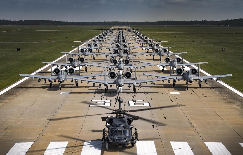 Фото обои USAF, HH-60G Pave Hawk, A-10C Thunderbolt II, HC-130J Combat King II, Elephant Walk