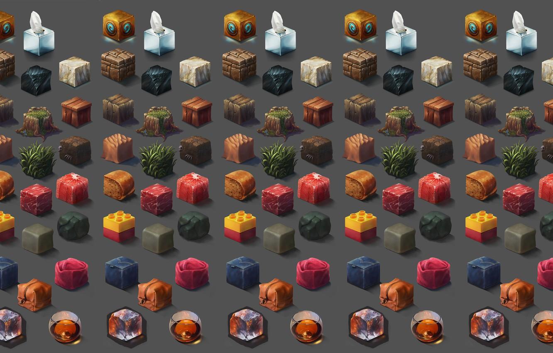 Фото обои кубики, текстура, арт, Riot Games, Ayhan Aydogan