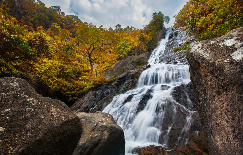 Фото обои лес, пейзаж, река, скалы, водопад, forest, river, landscape, beautiful, autumn, waterfall
