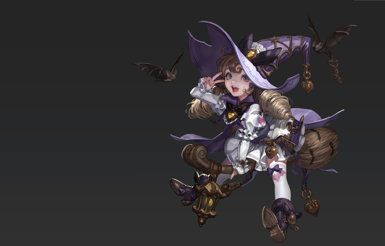 Фото обои фэнтези, арт, малышка, ведьмочка, Monable ., летучая мышка, Little Witch