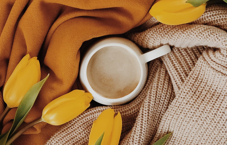 Фото обои уют, одежда, чашка, тюльпаны, ткань, напиток