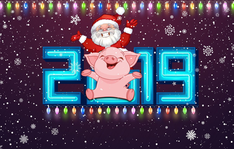 Фото обои Зима, Свинья, Снег, Рождество, Снежинки, Фон, Новый год, Праздник, Санта Клаус, Арт, Дед Мороз, Happy ...
