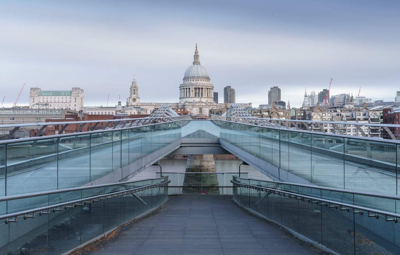 Фото обои City, London, Millenium Bridge