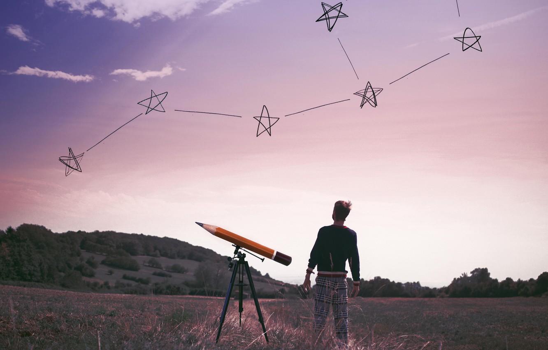 Фото обои небо, человек, звёзды, плоская земля
