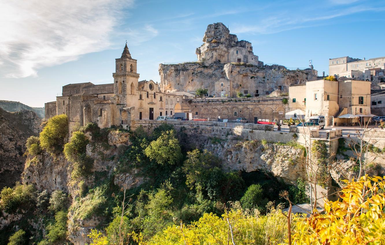 Фото обои пейзаж, природа, город, скалы, Италия, Базиликата, Матера