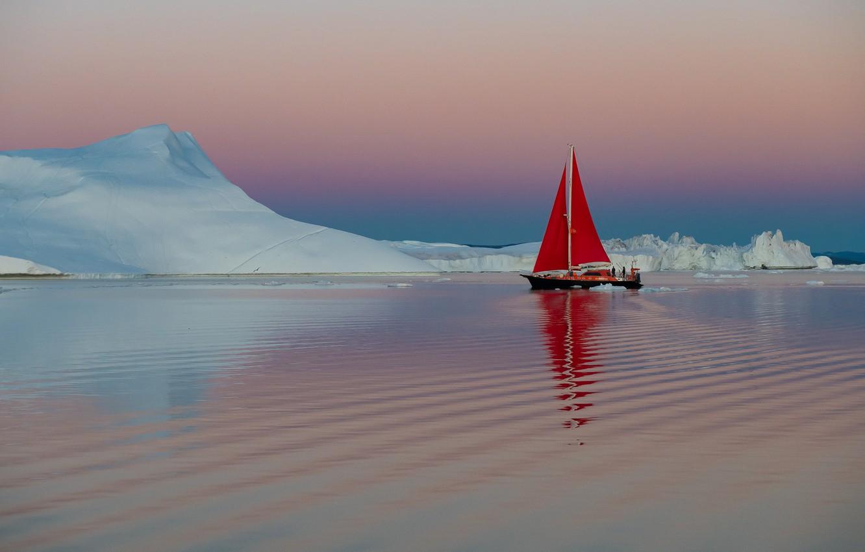 Фото обои вода, лодка, корабль, яхта, льды