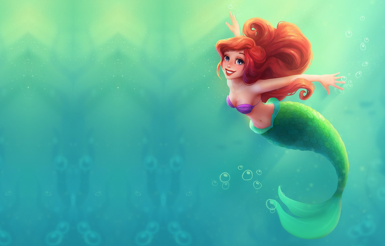 Фото обои море, вода, мультфильм, сказка, арт, принцесса, sea, Ariel, Ариэль, русалочка, Little mermaid, детска, Ulyana Konichenkova