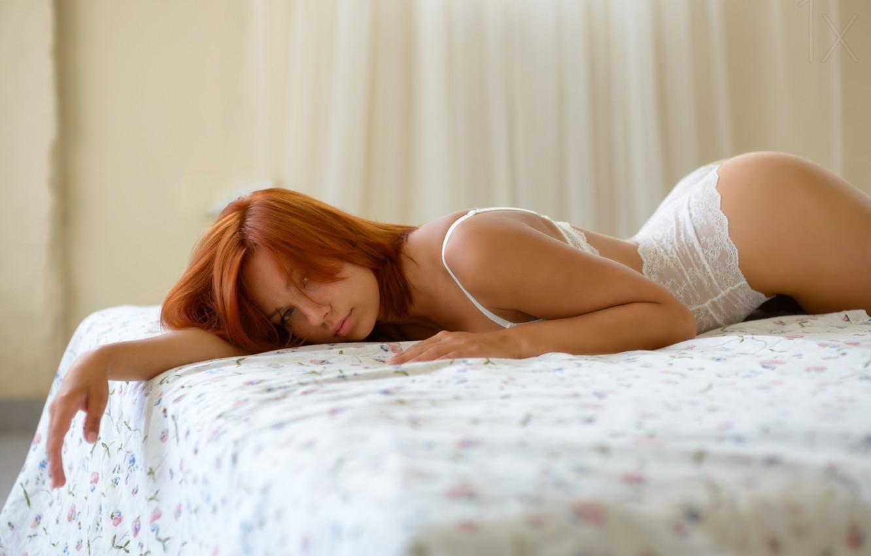 Фото обои девушка, постель, рыжая, girl, redhead, bed, ido meirovich