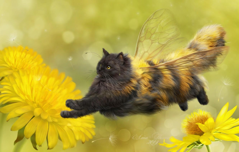 Фото обои кошка, цветы, фон, арт, одуванчики, крылышки, пушистая, кошка-пчёлка