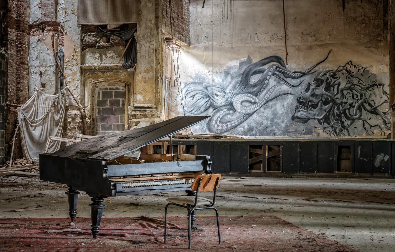 Фото обои музыка, стул, зал, пианино