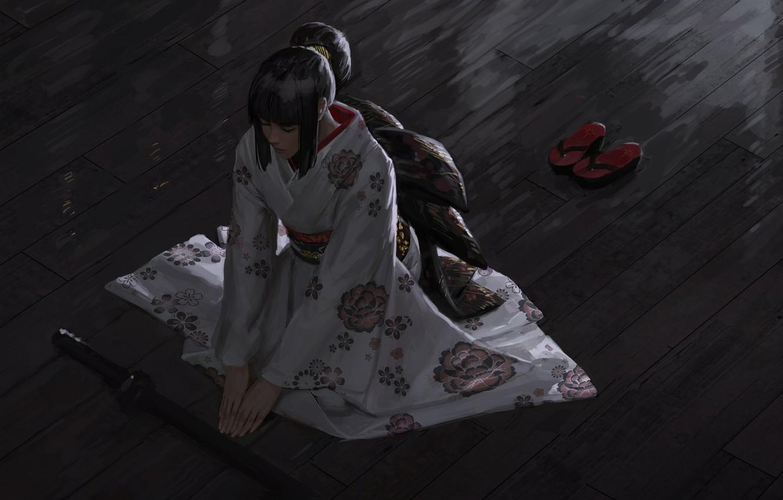 Фото обои японка, медитация, кимоно, вид сверху, katana, сидит на полу, закрытые глаза, kimono, гета, by Guweiz