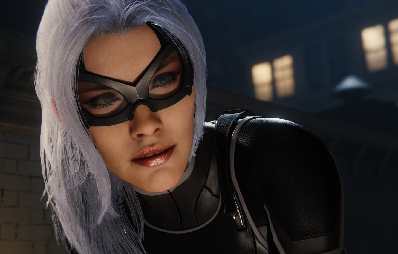 Фото обои Sony, Marvel, mask, Spider-Man, Exclusive, PS4, Black Cat, Felicia Hardy, Insomniac Games