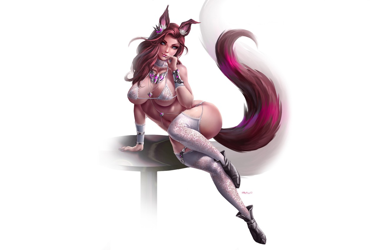 Фото обои Girl, Fantasy, Kawaii, Beautiful, Sexy, Art, Style, Minimalism, Characters, Figure, Tail, Kitsune, Furry, GvArt GV, …