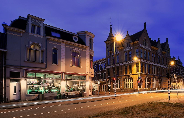 Фото обои улица, вечер, фонари, Нидерланды, Haarlem