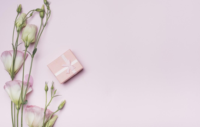 Фото обои цветы, фон, розовый, подарок, сердечки, love, box, pink, flowers, hearts, gift, valentine, эустома, eustoma