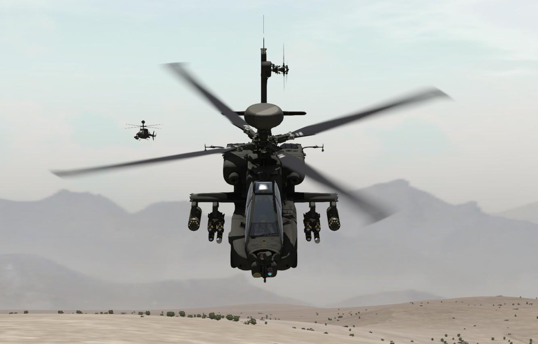 Фото обои песок, горы, пара, полёт, вертолёт, ударный, разведывательный, OH-58 Kiowa, AH-64D Apache