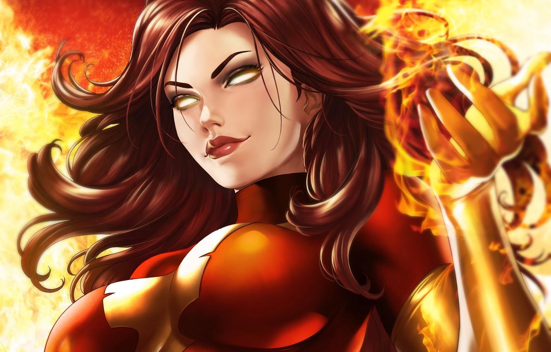 Фото обои девушка, огонь, fire, мутант, Marvel, Джин Грей, Jean Grey, mutant, by Dandonfuga, тёмный феникс, dark ...