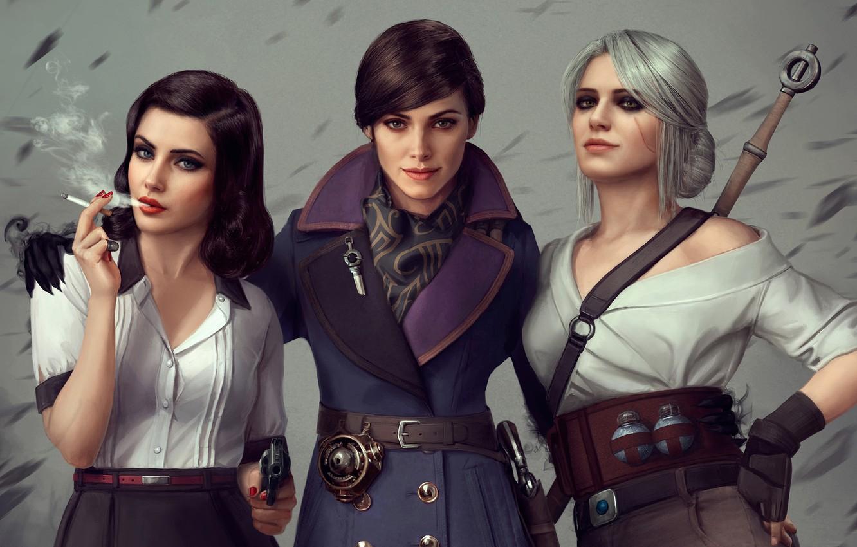 Фото обои игры, пистолет, девушки, трио