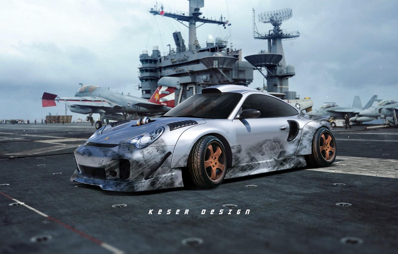 Фото обои Авто, Самолеты, Машина, Серый, Арт, Porsche 911, F/A-18, Авианосец, Concept Art, Спорткар, McDonnell Douglas, Палуба, ...