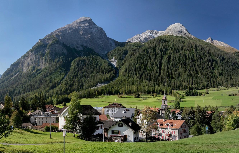 Обои швейцария, swiss alps, zermatt, долина, дома, альпы. Пейзажи foto 16
