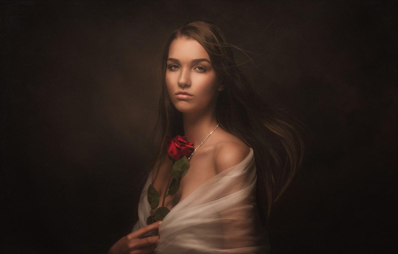 Фото обои взгляд, девушка, лицо, темный фон, роза, портрет, накидка, длинноволосая