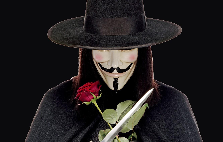 Фото обои оружие, роза, шляпа, маска, парик, клинки, V For Vendetta