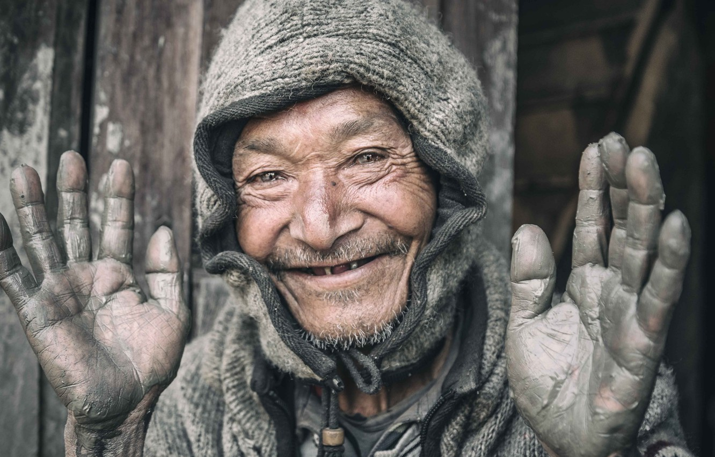 Фото обои человек, портрет, руки