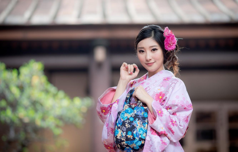 Фото обои девушка, улыбка, кимоно, азиатка, милашка