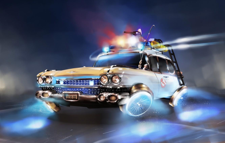 Фото обои Авто, Будущее, Машина, Car, Арт, Art, Фантастика, Ghostbusters, Illustration, Vehicles, Охотники за Привидениями, Transport, Transport …