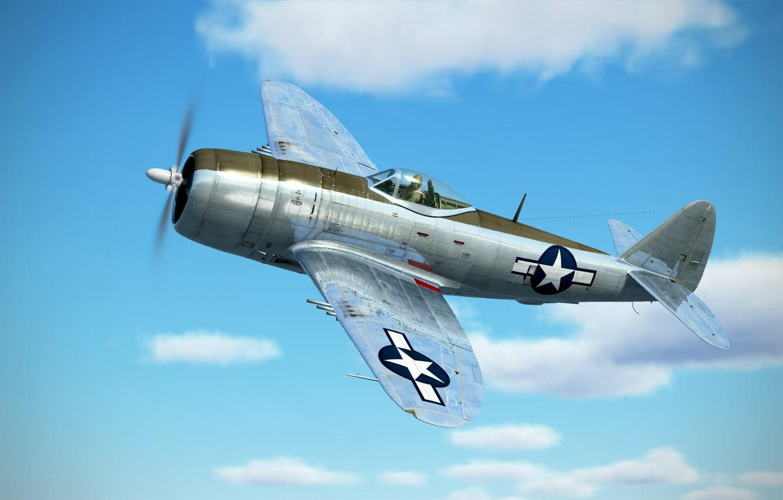 Фото обои небо, облака, арт, Thunderbolt, USAF, истребитель-бомбардировщик, Republic, P-47D