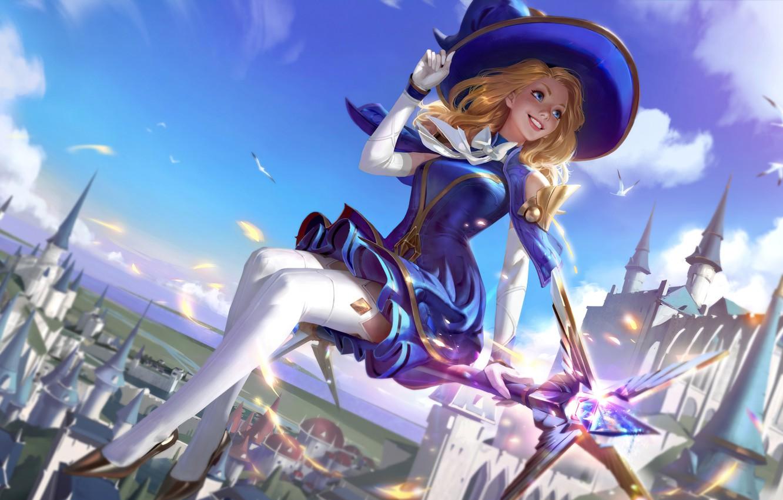 Фото обои girl, fantasy, game, blue eyes, Lux, League of Legends, castle, blonde, digital art, artwork, fantasy …
