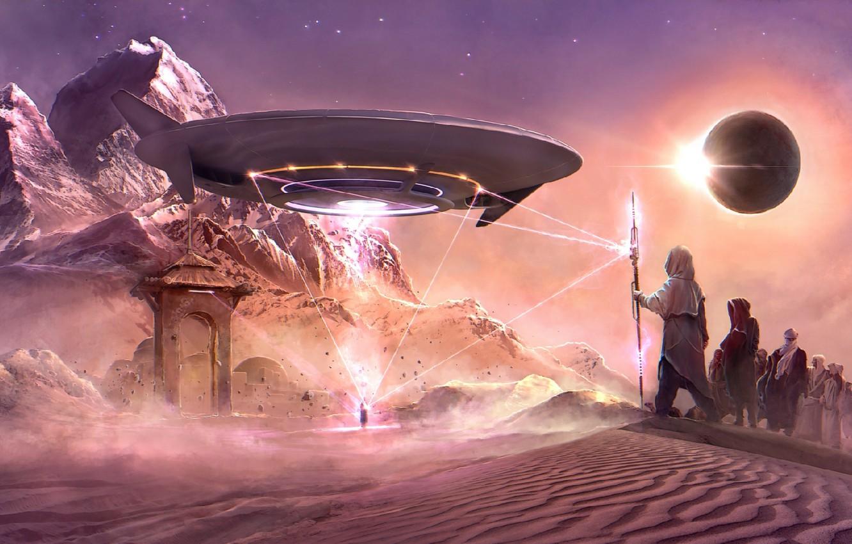 Фото обои fantasy, art, fantastic, UFO, grate