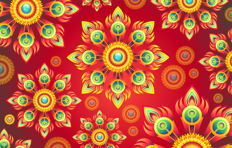 Фото обои цветы, абстракция, фон, графика, текстура, орнамент, background, digital art