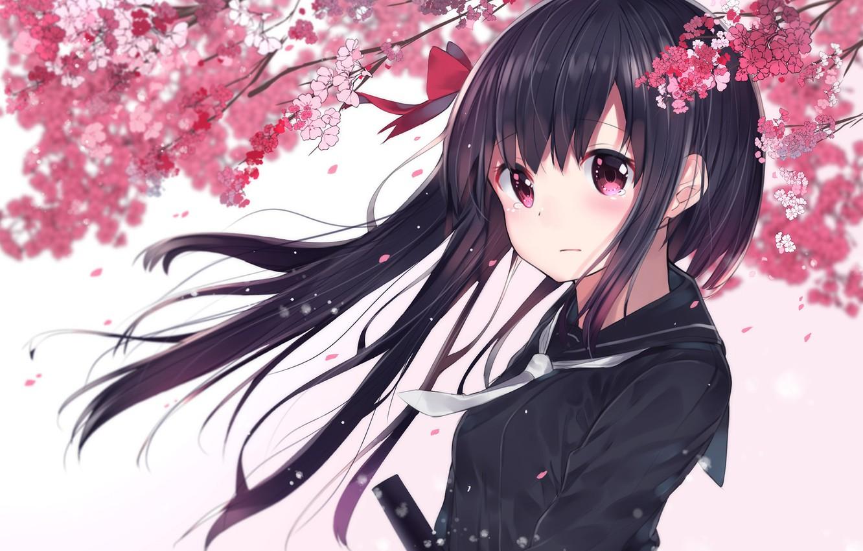 Фото обои цветы, весна, сакура, девочка