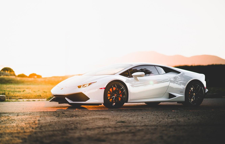Фото обои Lamborghini, Sunset, White, Evening, VAG, Huracan