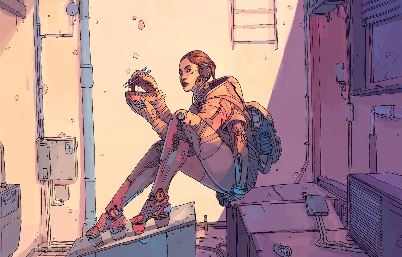 Фото обои Девушка, Рисунок, Fantasy, Арт, Art, Еда, Robot, Robots, Фантастика, Киборг, Киберпанк, Cyberpunk, by Josan Gonzalez, …