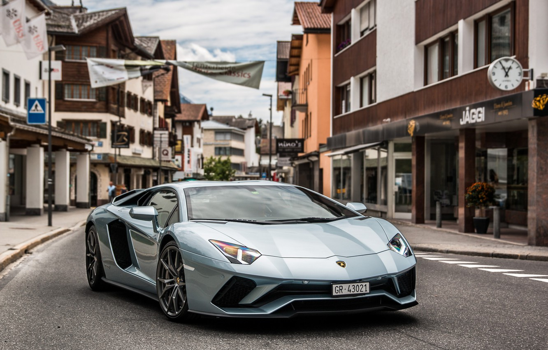 Фото обои Lamborghini, Street, Aventador
