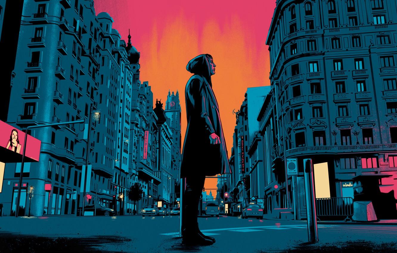 Фото обои Закат, Город, Человек, Улица, Стиль, Постер, Art, Испания, Фильм, Illustration, by Santi Cortizo Docampo, Santi …