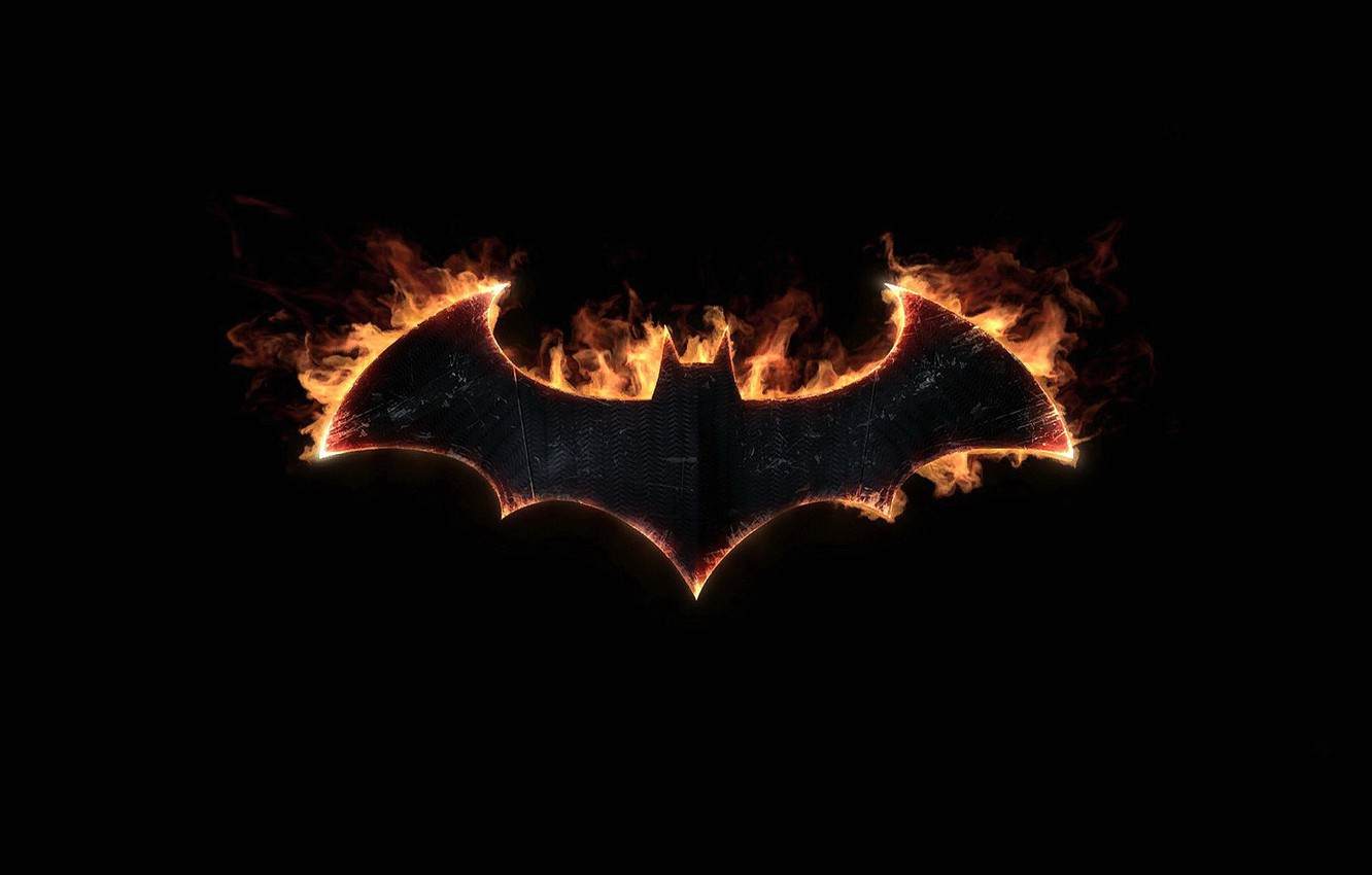 Фото обои batman, знак, символ, летучая мышь, fire, эмблема, logo, symbol, bat, Batman Arkham Knight