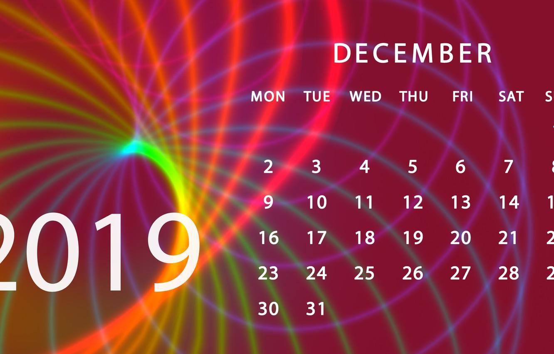 Фото обои календарь, декабрь, 2019