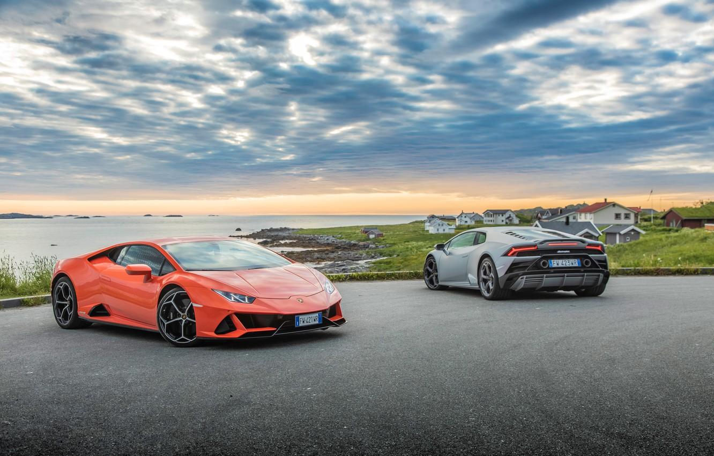 Фото обои небо, вода, машины, Lamborghini, Evo, Huracan