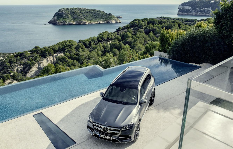 Фото обои машина, вода, Mercedes-Benz, кроссовер, GLS, полноразмерный внедорожник, 2019