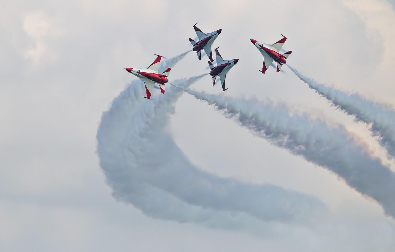 Обои Самолёт, fighting falcon, вираж, истребитель, Пейзаж. Авиация foto 9