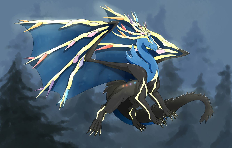 Фото обои фон, дракон, арт, Покемон