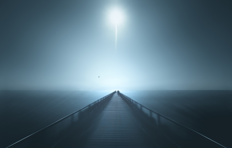 Фото обои море, чайка, Луна, горизонт, пирс, moon, sea, pier, horizon, seagull, Marc Huybrighs