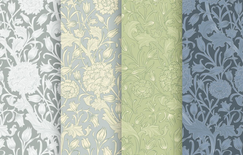 Фото обои листья, цветы, фон, узор, текстура, Green, pattern, Texture, Floral, Ornament
