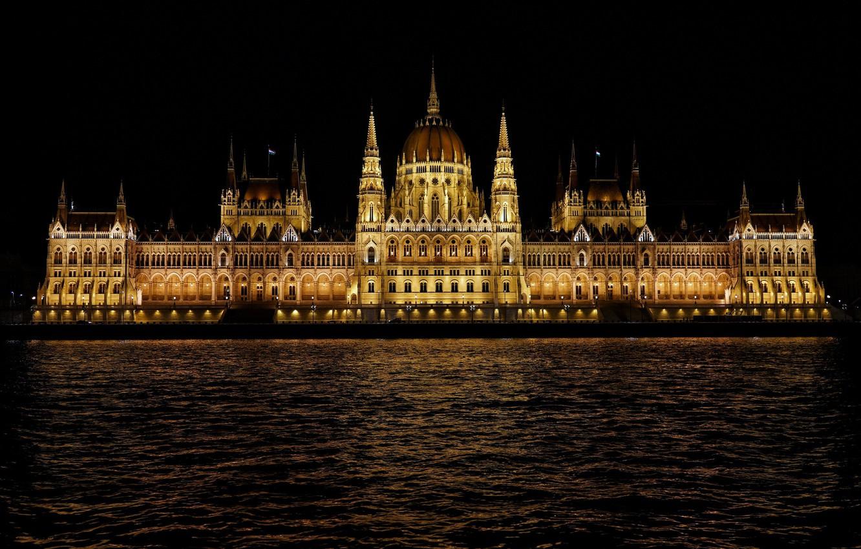 Фото обои вода, ночь, Венгрия, Будапешт