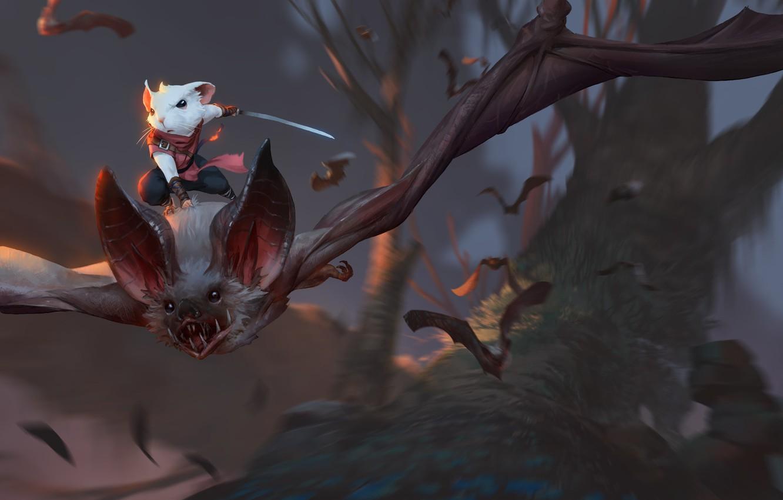 Фото обои деревья, полет, оружие, мышь, фэнтези, арт, летучие мыши