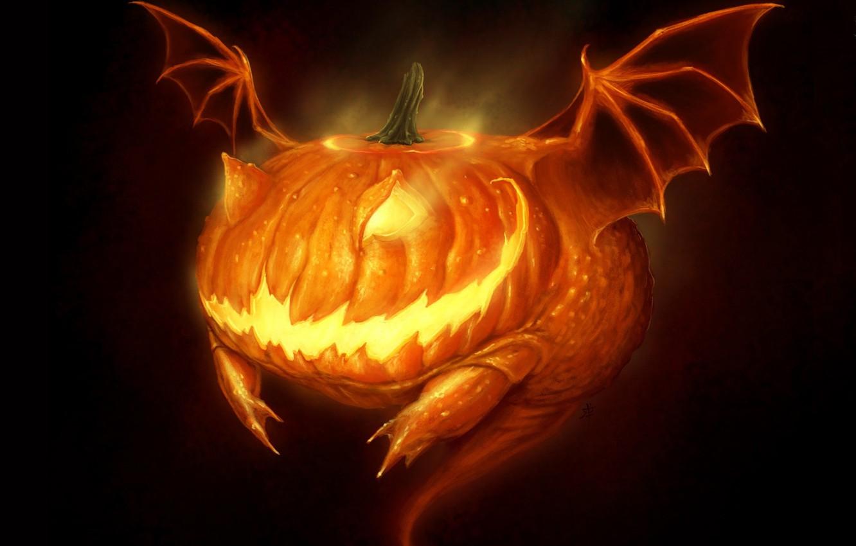 Фото обои монстр, пасть, Halloween, ужас, Хэллоуин, светильник Джека, жуть, адская ухмылка, крылья летучей мыши, by Robpowell