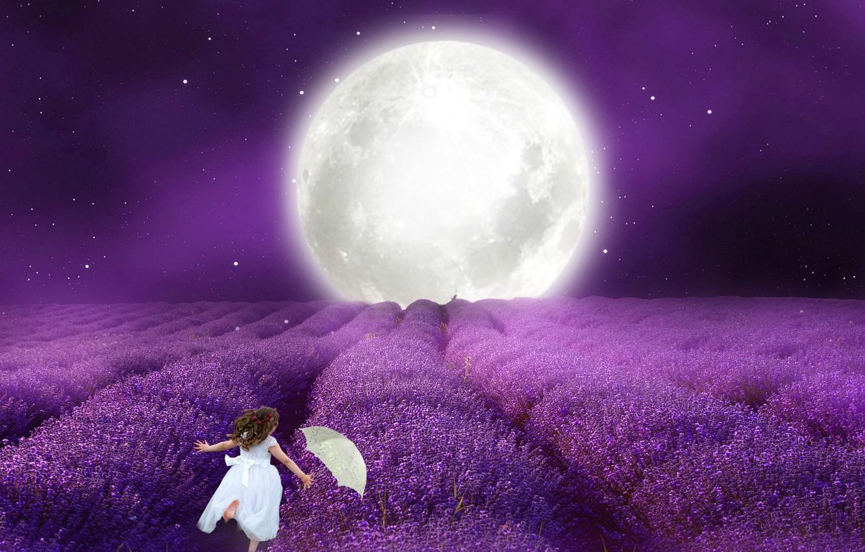 Фото обои ночь, зонтик, Луна, белое платье, маленькая девочка, лавандовое поде